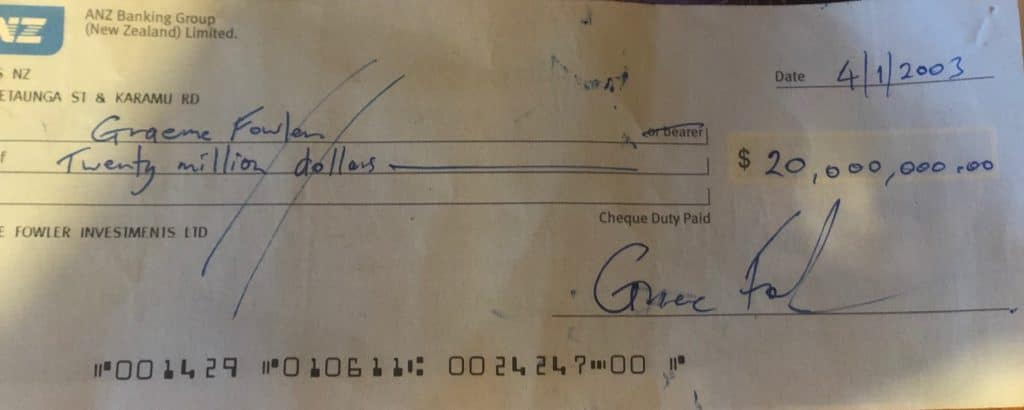 Graeme Fowler's $20 million cheque to himself